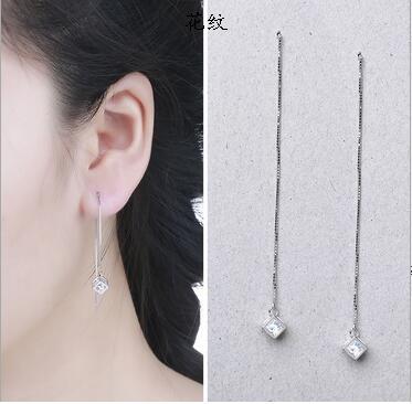 16 S925纯银魔方镶嵌耳线 时尚百搭欧美饰品