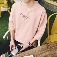 21t TF105厂家直销夏季韩版男式高品质五分袖开叉款宽松短袖衫T恤潮