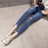 5 2017新款韩版女装洗水拉链纽扣打底裤修身破洞小脚铅笔牛仔裤长裤