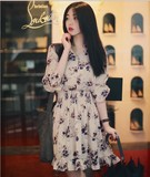 20q 春季韩国代购甜美气质印花立领单排扣松紧连衣裙短裙子