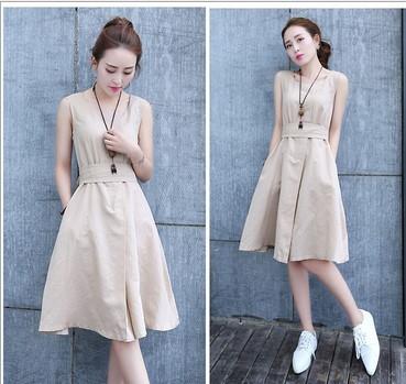 20q 夏装新款韩版修身显瘦中长款棉麻透气无袖收腰连衣裙女潮