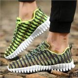 7 春夏季男士运动鞋 色彩条纹透气网面跑步鞋男 低帮休闲软底椰子鞋